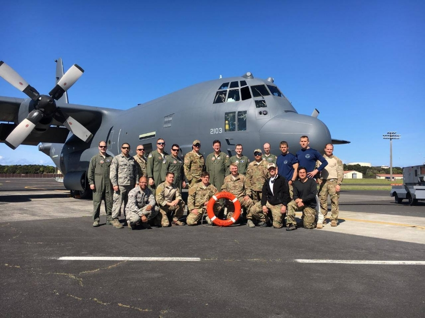 Parachute deployment of six Pararescuemen and one CRO to the vessel Tamar, 1500 miles out in the Atlantic 4-24-17.  Night deployment.  Outstanding job by the entire Wing, three seaman saved.